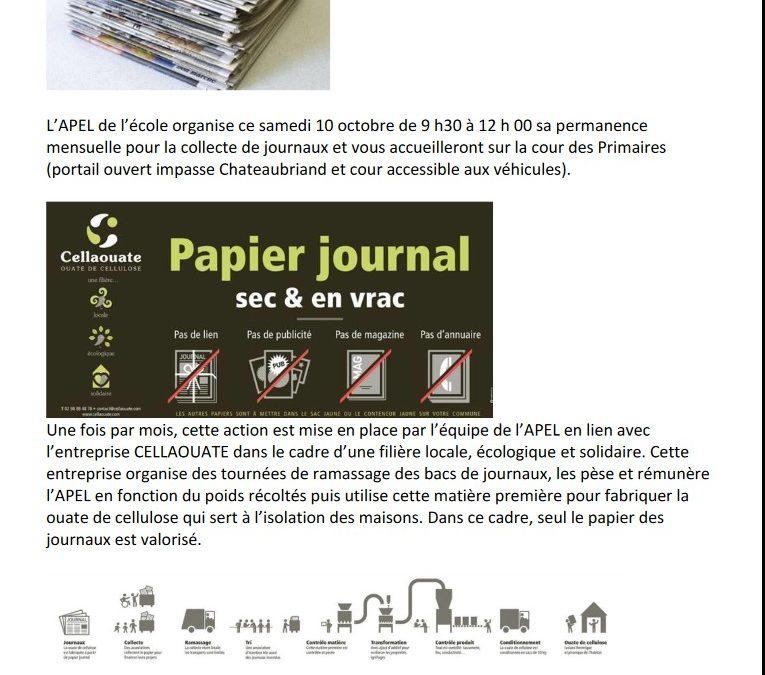 APEL : Collecte de journaux samedi 10 octobre de 9h30 à 12h